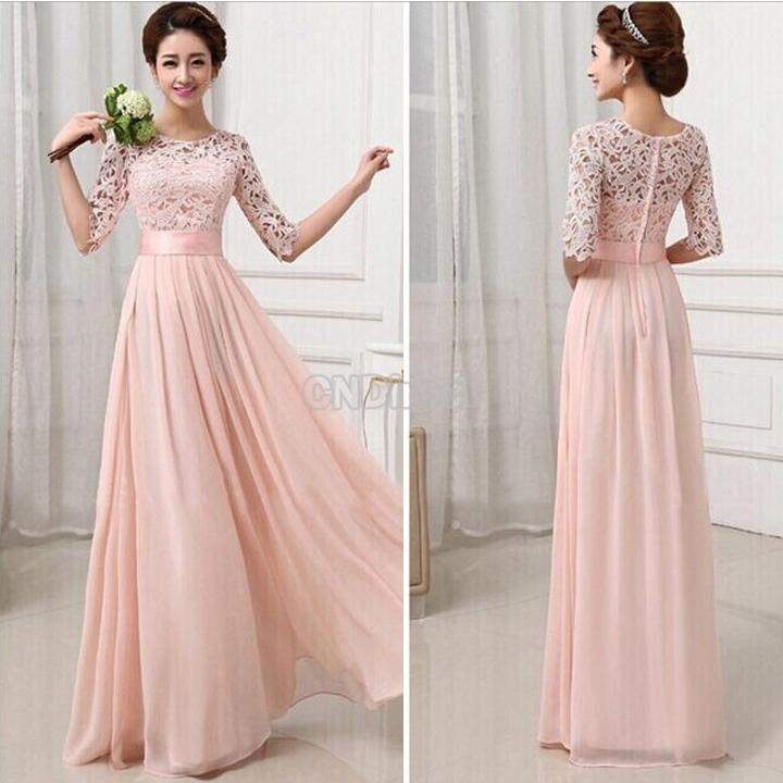 Fashion Women's 3/4 Sleeve Lace Chiffon Patchwork Prom Ball Gown ...