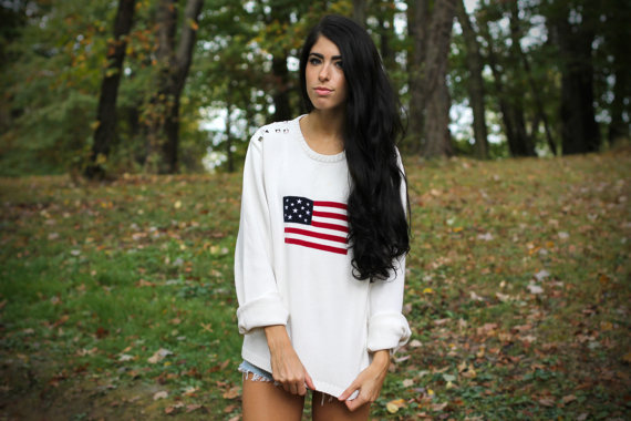 Vintage Cream American Flag Studded  Sweater. by VintageShopLuna
