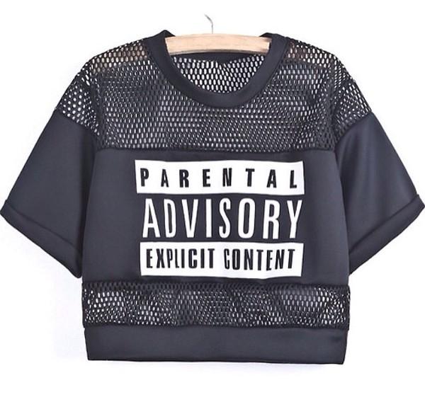 shirt black t-shirt jersey crop tops fishnet tee