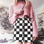 skirt,itgirl shop,kfashion,korean fashion,fashion,tumblr,southkorean,ulzzang,streetstyle,aesthetic,clothes,apparel,kawaii,cute,women,indie,grunge,pastel,kawaiifashion,pale,style,online,kawaiishop,freeshipping,free,shipping,worldwide,palegoth,soft grunge,softgoth,minimalist,inspiration,outfit,itgirlclothing,pencil skirt,checkered skirt,plaid print,zipped skirt,black and white skirt