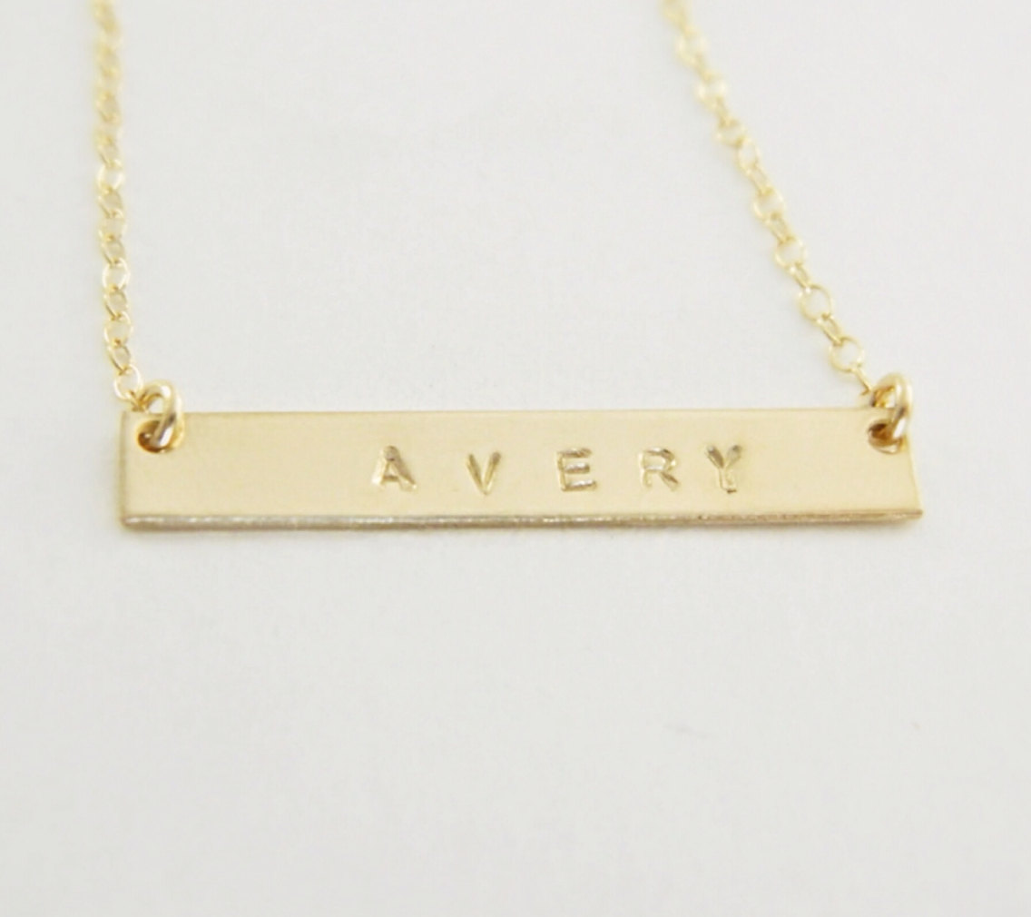 personalized gold bar necklace layering necklace