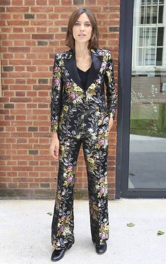 pants blazer suit alexa chung shoes floral spring outfits floral pants