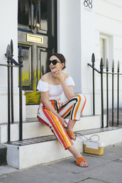 what olivia did...,blogger,top,sunglasses,pants,shoes,bag,jewels,striped pants,summer outfits,white top,flats