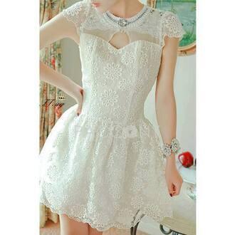 dress sheer lace dress little white dress