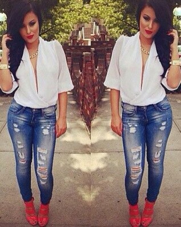 Low Cut White Blouse - Shop for Low Cut White Blouse on Wheretoget