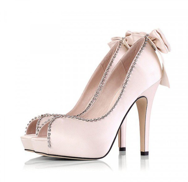 abc02916284be8 shoes bow peep toe heels light pink nude wedding prom sparkle fsjshoes