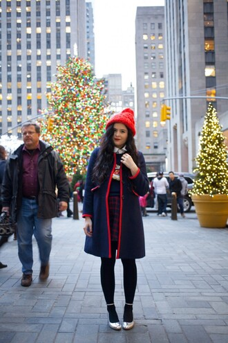 noelles favorite things blogger plaid skirt pom pom beanie red winter coat coat sweater skirt shoes hat