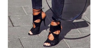 shoes black heels ankle strap heels open toes