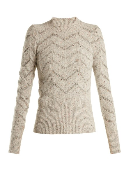 Isabel Marant sweater embroidered light grey