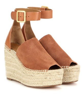 espadrilles leather suede brown shoes