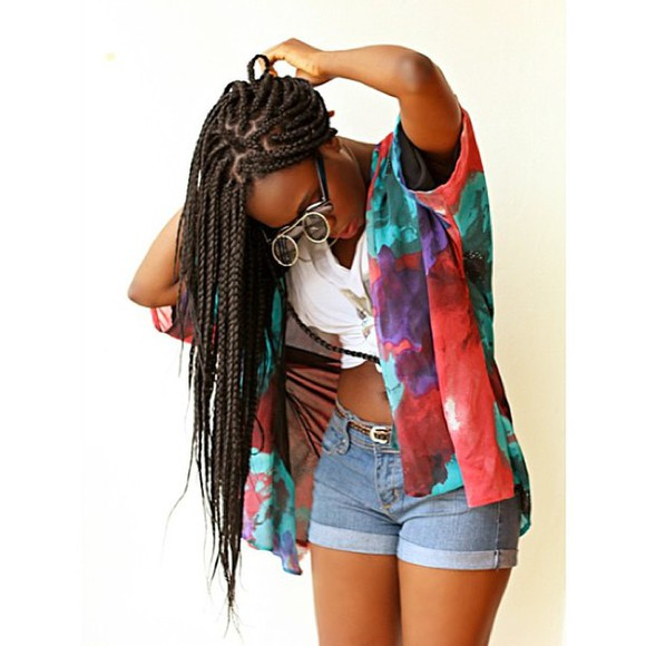 braid glasses babe jean shorts cover up colorful thick girls curvy tumblr girl cropped beautiful