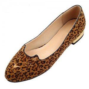Women's Brown Suede Round Toe Leopard-print Flats