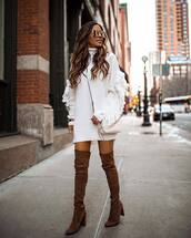 dress,sweater,knitted sweater,turtleneck sweater,tunic,fringes,thigh high boots,suede boots,high heels boots,mini bag,crossbody bag,sunglasses