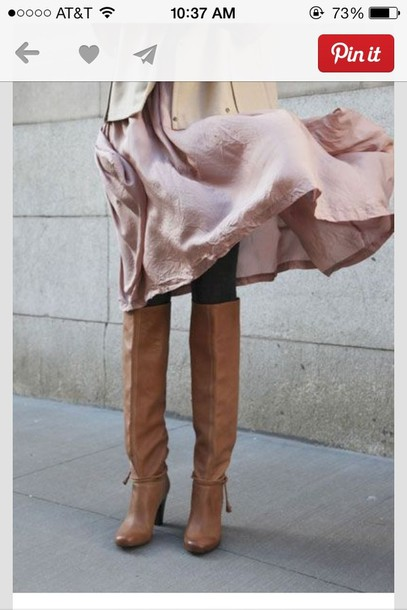 Shoes: knee high boots, brown leather boots, cognac - Wheretoget