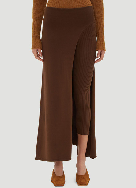 Jacquemus Asymmetric Legging Skirt in Brown size FR - 34