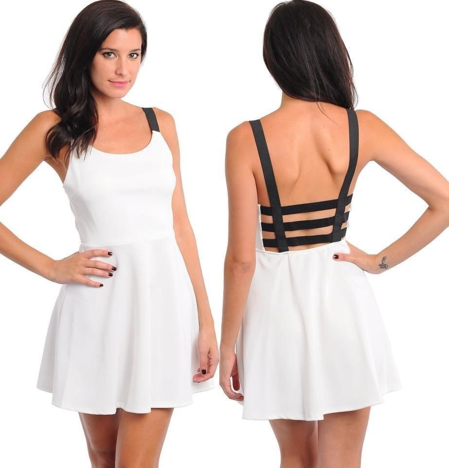 Black & White Back Caged Dress – Belle Soirée