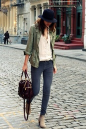 bag,jacket,shoes,nude,booties,fall outfits,Khaki coat,leather bag,ankle boots,olive jacket,utility jacket,military style,faded,skinny,grey,jeans,beige,boots,brown,streetstyle,summer,outfit,beige top,casual,chic,burgundy,pocket jacket