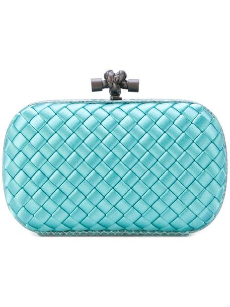 Bottega Veneta women clutch blue silk satin bag