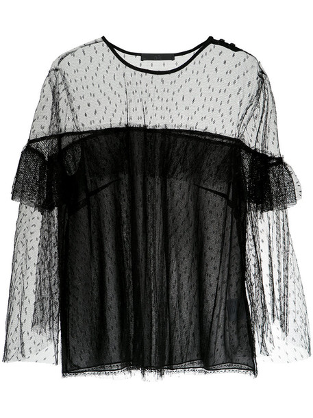blouse women black silk top
