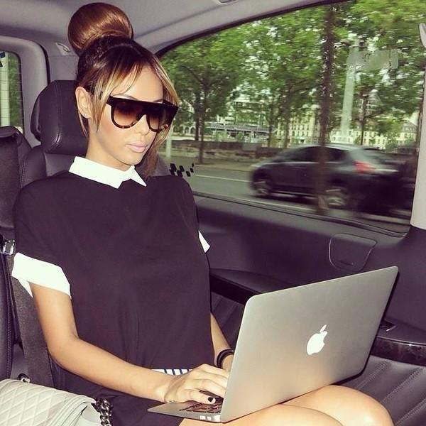 t-shirt nabila benattia sunglasses blouse clothes dress black white celebrity style degradé robe