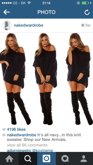 black sweater knitted sweater knee boots