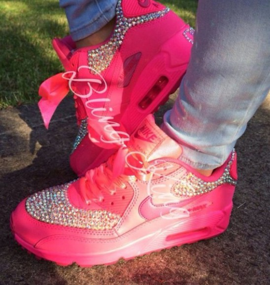 shoes diamonds air max airmax90 pink trainers diamonte gorgeous hyperfuse fashion glitter shoes
