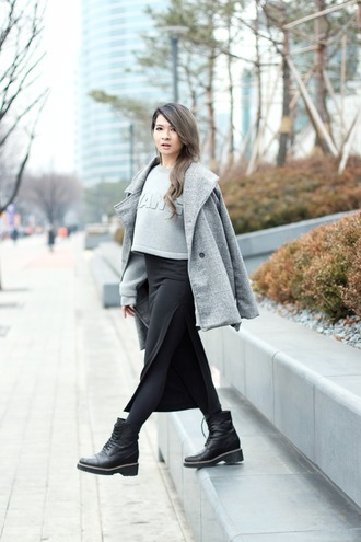 brown platform blogger alexander wang cropped sweater grey sweater long skirt slit skirt