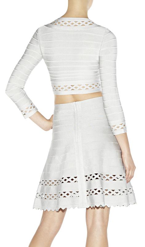 Cut Out Bandage Jacket & Skirt Two Piece Set White