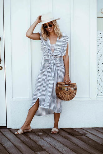 blondecollective blogger shoes dress bag hat white hat midi dress cult gaia bag slide shoes summer dress summer outfits striped dress