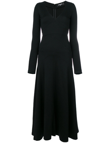 dress long women black wool