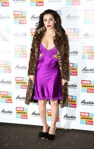 dress cut-out dress black mules charli xcx celebrity singer purple dress slip dress mules fur shoes coat animal print winter coat fur coat
