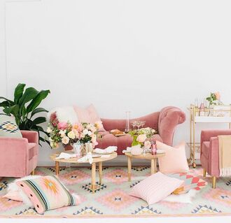home accessory tumblr pink home decor furniture home furniture living room sofa table chair plants pillow rug pattern