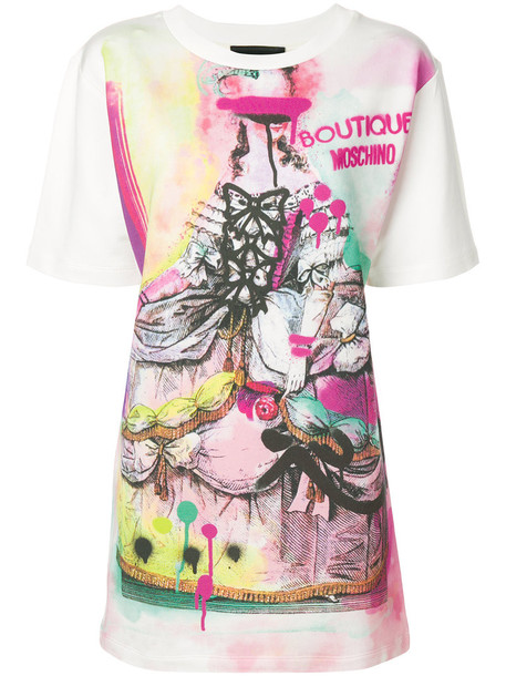 Boutique Moschino - graffiti printed T-shirt - women - Cotton/Viscose/other fibers - 42, White, Cotton/Viscose/other fibers