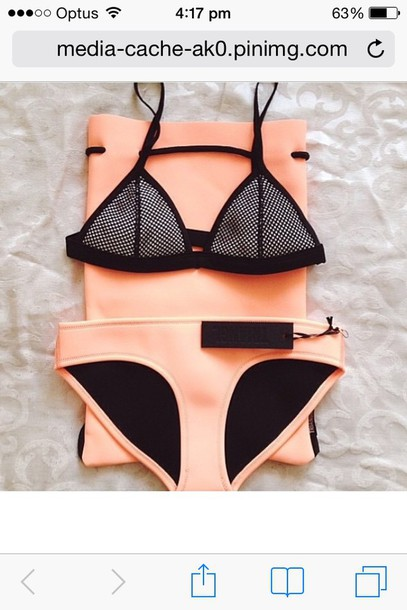 swimwear orange triangl triangl underwear swimwear orange black shoes bikini neon bikini color block bikini bottom
