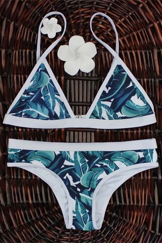 swimwear green white bikini fashion style trendy beach summer rose wholesale-ma