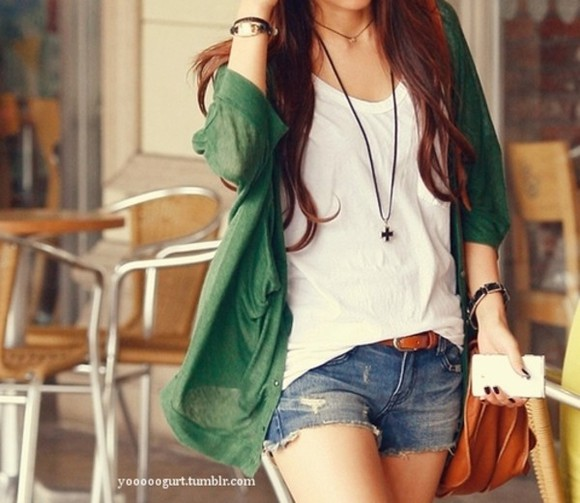 t-shirt white shirt sweater cardigan shorts jean shorts belt nail polish braclet cardigans bag jewels jacket