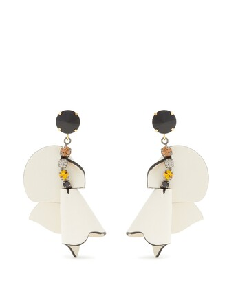 embellished earrings leather white jewels