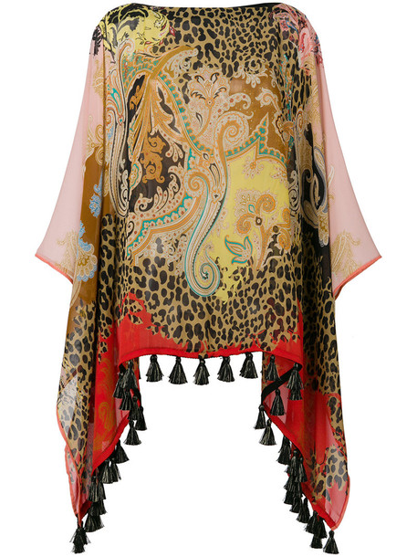 ETRO metallic women print silk brown top