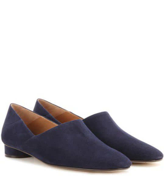 The Row Noelle Suede Slippers in blue