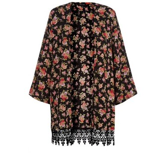 cardigan black pink pink roses red roses floral flowy coachella hippie