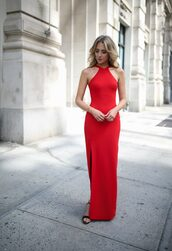 dress,tumblr,maxi dress,long dress,red dress,slit dress,halter dress,formal event outfit,evening outfits,shoes