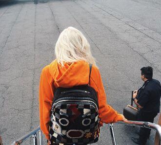 sweater kylie jenner orange kardashians backpack instagram hoodie ny fashion week 2016 streetstyle bag