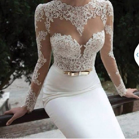 dress lace top dress white lace dress white, gold, bow, lace, crochet, body con