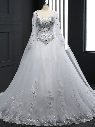 dress wedding dress wedding wedding clothes white long sleeves long sleeve dress lace tulle dress princess wedding dresses bride