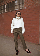 pants,tumblr,green pants,khaki,khaki pants,shoes,flats,velvet,velvet shoes,sweater,white sweater,knit,knitwear,knitted sweater,sunglasses