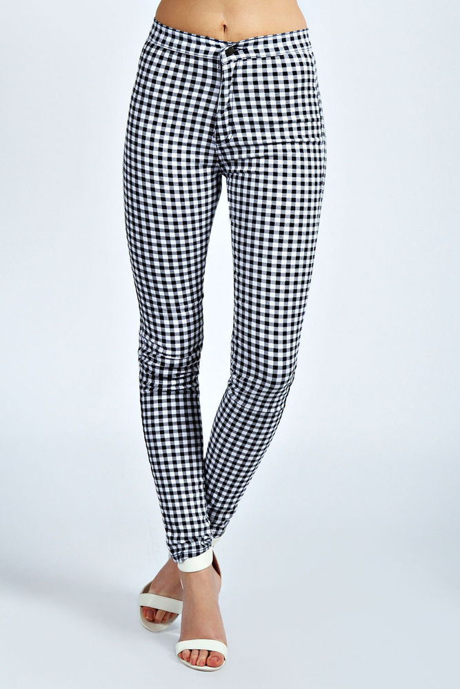 Boohoo Gemma Monochrome Gingham High Rise Skinny Slim Stretch Jeans In Black