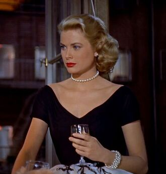 dress grace kelly black dress v neck dress pearl bracelets hairstyles make-up retro dress jewels