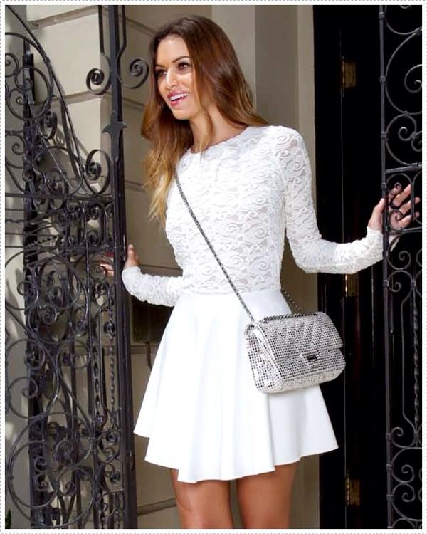 dress lace dress white white lace dress long sleeve dress prom dress