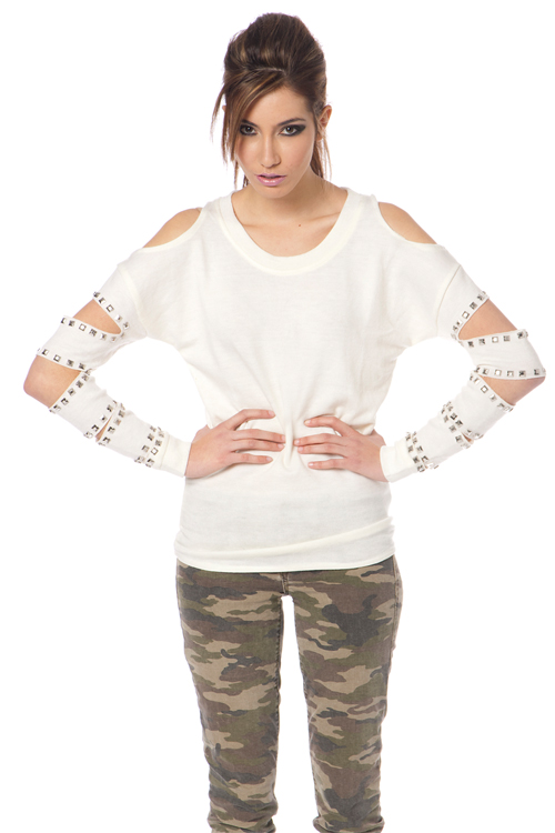 Stud cutout sleeve sweater  by reverse  @ tribehaus clothing
