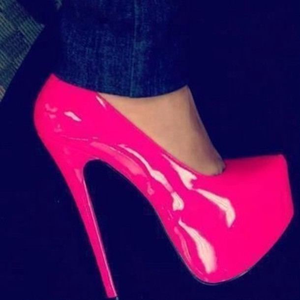 Shoes: hot pink patent leather platform heels, pink high heels ...